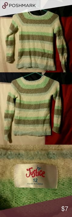 Justice sweater Justice sweater,bright colors,gray,green,white,gorgeous furry sweater justice Shirts & Tops