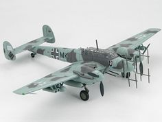 Hobbymaster 1:72 Messerschmitt Bf 110G Diecast Model Airplane - HA1808 This Messerschmitt Bf 110G 3C+MK (Martin Becker - Luftwaffe 2-NJG4 1943) Diecast Model Airplane features working propellers. It is made by Hobbymaster and is 1:72 scale (approx. 22cm / 8.7in wingspan).  General Background  The Bf-110G-4 was a dedicated night fighter entering service in late 1942. The airframe was strengthened to accommodate a larger engine than previous models and this also allowed for heavier payloads…