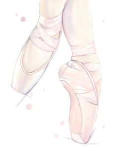 Ballet Shoes Illustration Print, Fashion Wall Art, Giclee Art Print, Watercolor Painting, Samantha B Art Ballet, Ballet Painting, Ballerina Art, Ballerina Wallpaper, Art Mural Fashion, Ballet Drawings, Ballet Shoes Drawing, Unicornios Wallpaper, Art Drawings For Kids