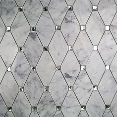 Ivy Hill Tile Mirage Lozenge Carrara in. x 8 mm Marble and Glass Wall Mosaic - The Home Depot Marble Mosaic, Glass Mosaic Tiles, Mosaic Wall, Mirror Tiles, Mirror Bathroom, Glass Tile Bathroom, Marble Bathrooms, Master Bathroom, Chic Bathrooms