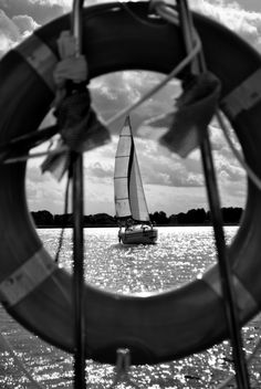 """Wear Pink and Make the Boys Wink!"" beautiful black and white sailboat photo"