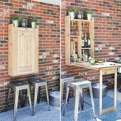 beverages Last year I designed and built this outdoor cedar Murphy bar. This is a great addition to any patio and can be used to serve up beverages or even as a grill prep station! Small Patio Ideas On A Budget, Budget Patio, Diy Patio, Backyard Patio, Pavers Patio, Patio Bar, Patio Roof, Backyard Ideas, Murphy Bar