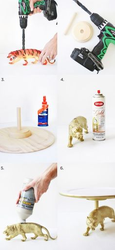 Wild Cat Cake Stand DIY - A Beautiful Mess - Care - Skin care , beauty ideas and skin care tips Kids Crafts, Diy And Crafts, Craft Projects, Arts And Crafts, Bolo Diy, Diy Lampe, Ideias Diy, Plastic Animals, Beautiful Mess