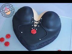 Busentorte I Boobs Cake I Tutorial I Fondant Cake I Motivtorte - YouTube Cakes To Make, Cakes For Men, How To Make Cake, Bikini Cake, Bra Cake, Fondant Cakes, Cupcake Cakes, Cupcakes, Breast Cancer Cake