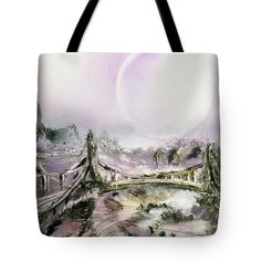 Bridge Of Spirits Tote Bag Printed with Fine Art spray painting image Bridge Of Spirits Nandor Molnar (When you visit the Shop, change the size, background color and image size as you wish)