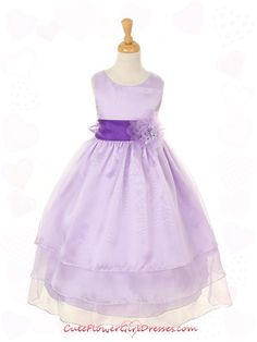 Lavender Long 3 Tiered Organza Girl Dress