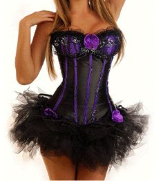 Burlesque/ Moulin Rouge Purple Black Corset and Tutu Fancy Dress Outfit/Costume | eBay