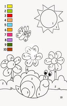 Toddler Spring Color By Number Activity Sheets | K5 Worksheets #education #educationforkids Pracovní Listy Pro Školky, Předškolní Pomůcky K Tisku
