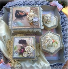 Shabby chic/vintage set of boxes