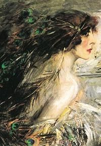 Portrait by Giovanni Boldini, Casati wore extravagant clothes by Erté, Fortuny and Poiret, although the the decadent balls, jewels and paintings commissioned seemed endless, her fortunes were not. By 1930 she had debts of twenty five million US dollars.  Unable to pay her creditors her belongings were confiscated and auctioned at the Palais Rose in 1932.  Among the bidders was Coco Chanel.