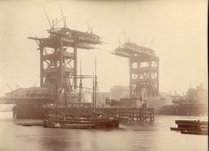 Construction of Tower Bridge, London, 1890