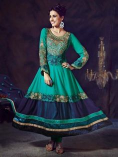 Light Blue Georgette Anarkali Suit With Resham And Zari Embroidery Work