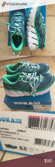 NEW! HOKA One One Women's Conquest 2 Running Shoe Brand New! HOKA One One Conquest 2 Running Shoe. Color: Colonial Blue/Mint Leaf HOKA Shoes Athletic Shoes