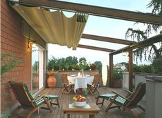 Deck shades outdoor shade ideas about canopy on patio for dogs porch intend Roof Terrace Design, Rooftop Design, Balcony Design, Rooftop Terrace, Patio Design, Deck Awnings, Outdoor Awnings, Deck Shade, Backyard Shade