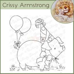 Whimsy Crissy Armstrong Rubber Stamp - Party Pig
