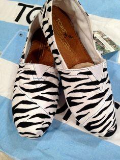 $94 Custom Zebra Print TOMS #custom #toms #shoes #bobs #vans #zebra #print #painted #unique #designed #girly #animal