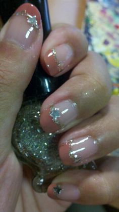 Coral Sparkle French Nail | chichicho~ nail art addicts