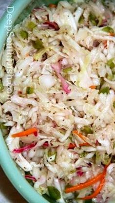 Forever Slaw - has a long refrigerator life. Tri-color coleslaw mix, Vidalia onion, green bell pepper, white vinegar, vegetable oil, sugar, salt, celery seed, dry mustard, pepper.