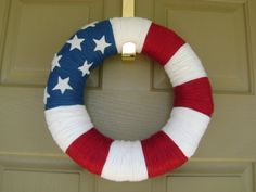 Door Wreath for Fourth of July by fatherdaughtercrafts on Etsy, $30.00