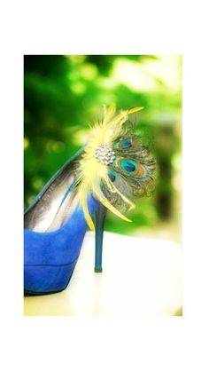Wedding Shoe Clips Yellow & Peacock Fan. Bride by sofisticata