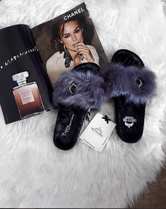 All of our beautiful slippers have a little something special. Choose from our beautiful styles including toe posts, mules, sliders and booties, each one as lovely at the next, you are sure to find the perfect pair to make your feet happy! Luxury Nightwear, Cute Slippers, Designer Shoes, Lounge Wear, Faux Fur, Footwear, Chanel, Booty, Pairs