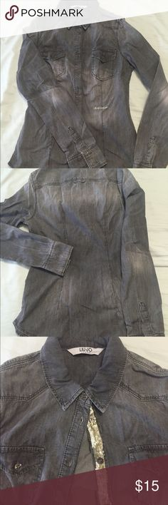 Liu Jo Jeans denim button up shirt Liu Jo Jeans denim button up shirt, greyish stone color, rock and roll style with shining scales, the chest is a little tight, never wear it before except for try on :) Liu Jo Tops Button Down Shirts