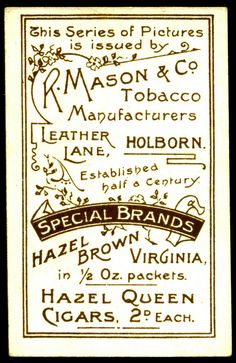 Cigarette Card Back - Mason's of London | Flickr - Photo Sharing❤️