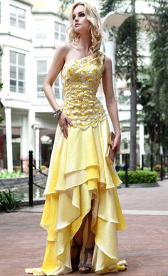 Fashion Yellow One Shoulder Long Beads Irregular Hem Bandage Evening Dress Formal Dress,<3!