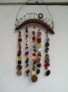 Button Chime with Upcycled Vintage Chair by creationdesigns