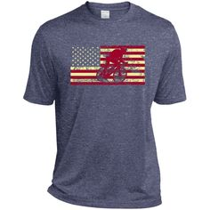 Male Cyclist Silhouette On The American Flag Heather Dri-Fit Moisture-Wicking Tee for Him