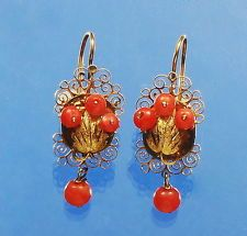 ANTIQUE VICTORIAN FILIGREE 14K GOLD RED CORAL EARRINGS