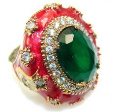 Secret Green Emerald Sterling Silver Ring s. 8