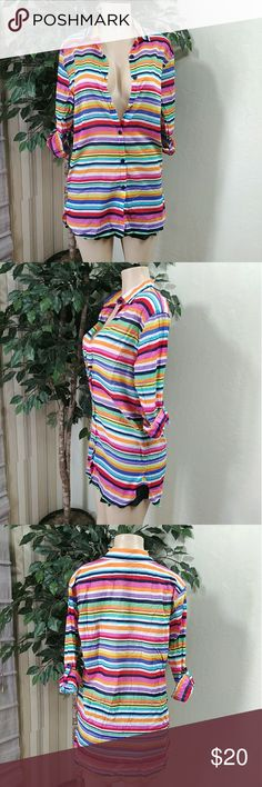 "Anne Cole boyfriend button front cover up Anne Cole Boyfriend Button-Front Cover Up, size medium, striped multicolor, full button front, collar, long sleeves that can be use as 1/4 sleeves as well, measure's chest 18"", length 30"" made of 100% cotton, compare $82.00 retail price value, comes new with tag as closeout merchandise in good cosmetic condition. Anne Cole Swim Coverups"