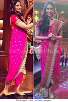 Bollywood Style Sonam Kapoor Georgette Saree in Pink color Dhoti Saree, Georgette Sarees, Khada Dupatta, Lehenga Blouse, Bollywood Saree, Bollywood Fashion, Bollywood Actress, Saree Wedding, Wedding Wear