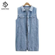 444e530cf3 New Fashion Spring Autumn Women Sleeveless Jeans Vest Female Casual Ripped  Long Denim Jacket Waistcoat Plus Size 5XL T52920