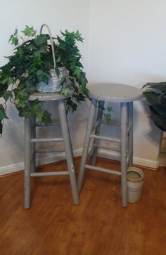Set of Two Kitchen Bar Stools Shabby Chic French by WildAttic, $60.00
