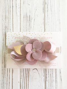 Dusty Rose fieltro diadema flor  malva sentía flor hairbow