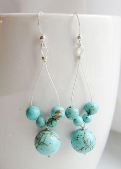 Turquoise Dance Drop Earrings-Long Turquoise Earrings-Long Gemstone Earrings by WaterRhythmGems on Etsy