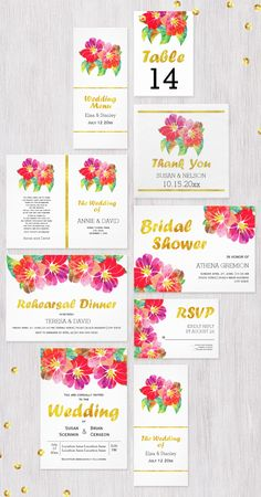 Tropical #watercolor flowers and gold foil leaf #floral #weddinginvitations collection.