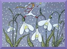 Snowdrops In The Snow an aceo Snow Fairy Garden by ChicorySkies, $8.00