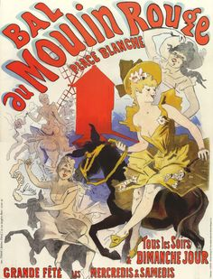 Antique French Advertising Poster print : MOULIN ROUGE, French cancan, Paris, Horse. $9.00, via Etsy.