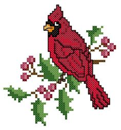 Cross Stitch Cardinal   To get the chart, click on the first line under the photo (maybe use the bird and customize and make it sit on a bat for STL)