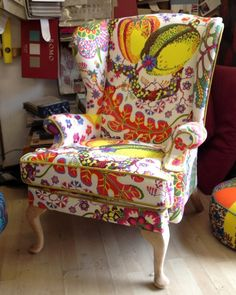 "Parker Knoll covered in Josef-Frank linen""Brasil"" for Flock"