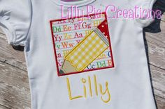Customized Pencil  Square Applique Tshirt by LillyPieCreations, Back to School