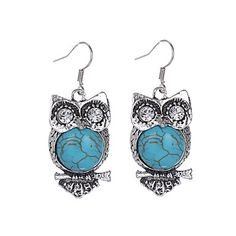 Ltumbe Hot Sale Antique Silver Color Animals Crystal Mujer Pendientes Vintage Owl Stone Hook Earrings For Women Jewelry Animal Earrings, Owl Earrings, Vintage Earrings, Drop Earrings, Fashion Earrings, Fashion Jewelry, Women Jewelry, Turquoise, Bohemian Jewelry