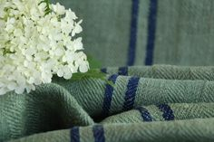 Grainsack Endless Love - Antique and handmade linen rolls and grain sacks. Welcome to our world of unique and changeless antique textile treasures.-antique antique dyded french linen roll seagreen cornflower blue stripes 3.06y T 683french linen roll slategrey cornflower blue stripes 2.40y T 684