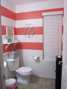 I like this idea only not in coral. Maybe navy blue; nautical themed bathroom.