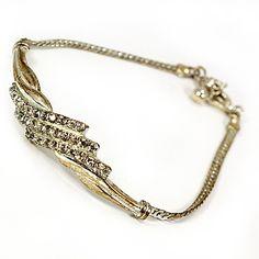 "Rhinestone Tennis Bracelet 7"" Vintage Avon Silver Tone Signed b198"