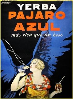 Metal Tin Sign yerba mate pajaro azul Bar Pub Home Vintage Retro Poster Cafe ART