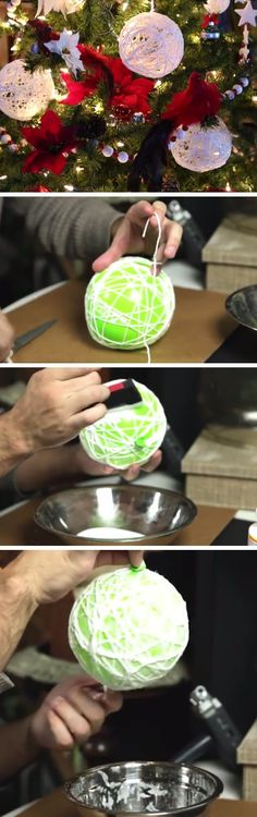String Art Glitter Ball Ornaments | DIY Christmas Decorations for Outside Ideas | Easy Outdoor Christmas Decor Ideas for Porch